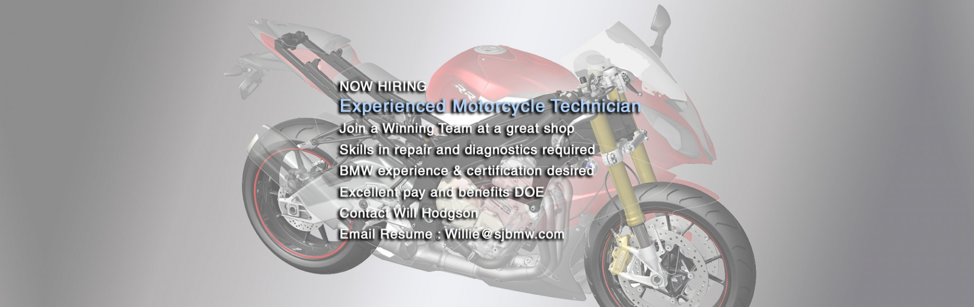 Hiring Experienced Motorcycle Technician